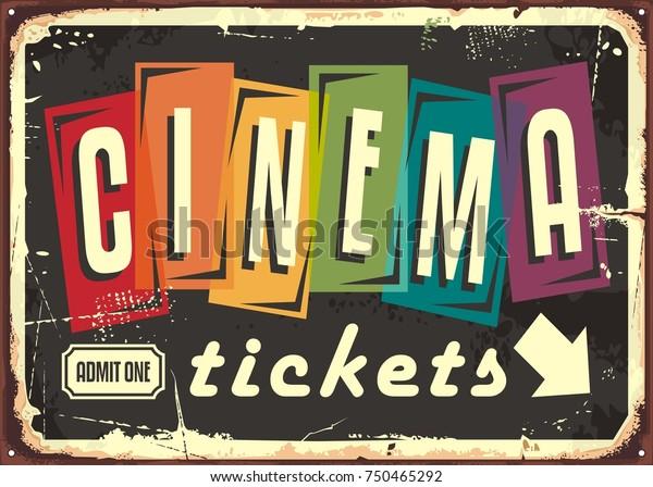 Билеты в кино ретро знак с красочной типографией на черном фоне. Фильмы и развлечения старинные шаблон дизайна знака.
