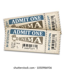 Cinema tickets in retro style. Admission tickets isolated on white background. Vector illustaration