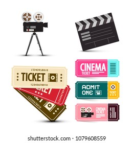Cinema Tickets. Vector Movie Items Set Isolated on White Background.