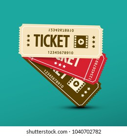 Cinema Tickets. Vector Paper Movie Ticket Symbol.