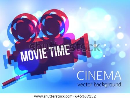 Cinema Vector Background Movie Projector Film Stock Vector Royalty