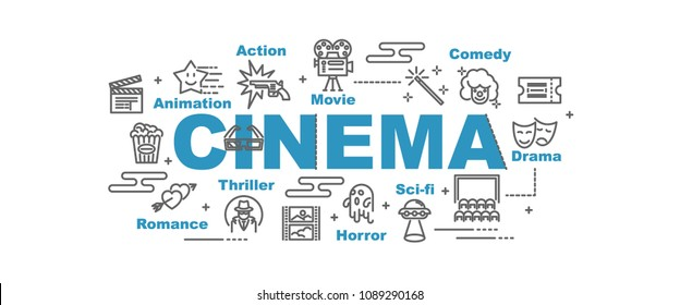 cinema vector banner design concept, flat style with icons