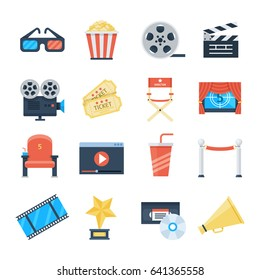 Cinema vector icons in a flat style on a white background. To rent and watch a movie in the cinema decorative elements. Accessories cinemas 3d glasses, popcorn, ticket, projector, screen.