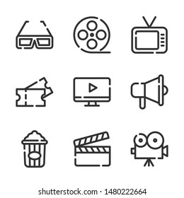 Cinema vector line icons set. television, movie, film, clip, ticket and more. Editable stroke