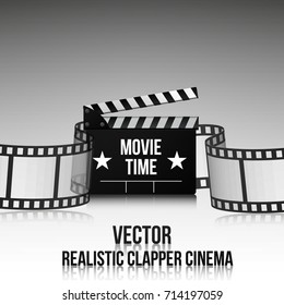 Cinema vector poster design template. Movie time background banner shining sign.