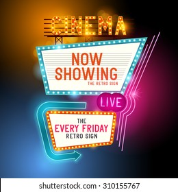 Cinema vector sign with glowing neon lights
