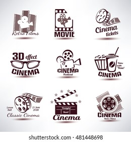 cinema vector symbols and retro emblems collection