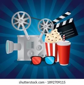 Cinema videocamera food clapboard and 3d glasses design, Movie video film media entertainment theme Vector illustration