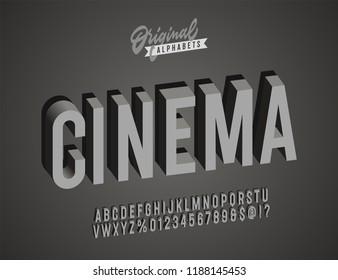 'Cinema' Vintage 3D Noir Style Alphabet. Retro Typography. Vector Illustration.