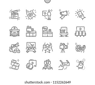 Cinema Well-crafted Pixel Perfect Vector Thin Line Icons 30 2x Grid for Web Graphics and Apps. Simple Minimal Pictogram