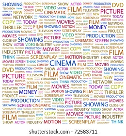 CINEMA. Word collage on white background. Vector illustration. Illustration with different association terms.