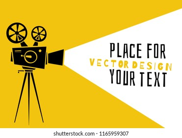 Cinema.Silhouette movie projector with space for copy. Movie time concept. Cartoon vector illustration. Place for your text.