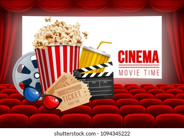 Cinematograph concept banner design template with popcorn and other elements on cinema theme on background with seats and white glowing screen. Vector illustration.