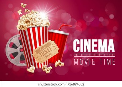 Cinematograph concept banner design template with popcorn, drink, film reel, film tape and ticket on red bokeh background. Realistic vector illustration.