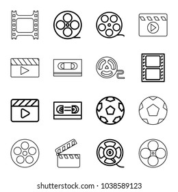 Cinematography icons. set of 16 editable outline cinematography icons such as movie tape, camera tape, film tape, movie clapper