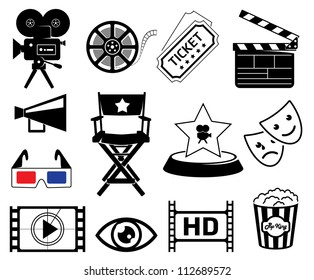 Cinematography icons set