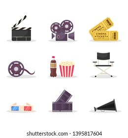 Cinematography items vector illustrations set. Movie directing, filmmaking. Cinema ticket, 3D glasses. Film strip, tape, director chair isolated cliparts. Classic movie clapper, loudspeaker, camera