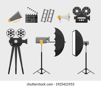 Cinematography movie tools equipment object elements vector illustration