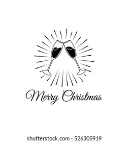 Cink glasses. Merry Christmas and Happy New Year Greeting Card, Vector Illustration