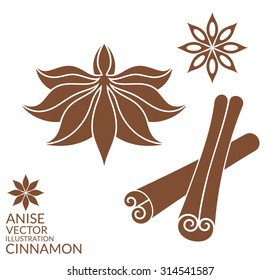 Cinnamon. Anise. Isolated icons on white background. Vector illustration