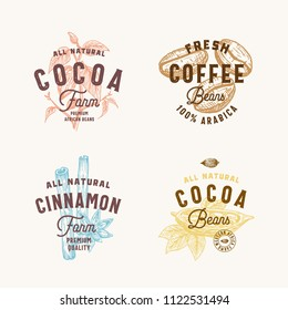 Cinnamon, Anise Spices, Cocoa and Coffee Abstract Vector Sign, Symbol or Logo Templates Set. Hand Drawn Spices and Beans Silhoettes with Premium Vintage Typography. Vintage Vector Emblems. Isolated.