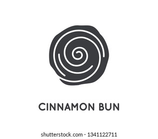 Cinnamon Bun Roll Vector Glyph Element or Icon, Illustration.