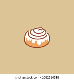 Cinnamon bun vector icon in flat line style