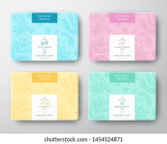 Cinnamon, Clove, Mint and Vanilla Soap Cardboard Boxes Set. Abstract Vector Wrapped Paper Container with Label Cover. Packaging Design. Hand Drawn Spices Background Pattern Layout. Isolated.
