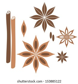 Cinnamon. Icon set. Isolated anise and cinnamon on white background