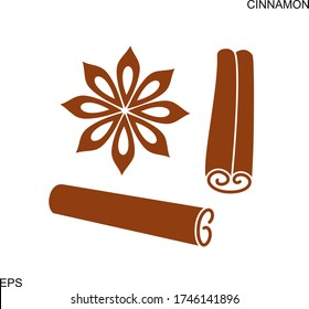 Cinnamon logo. Isolated cinnamon on white background