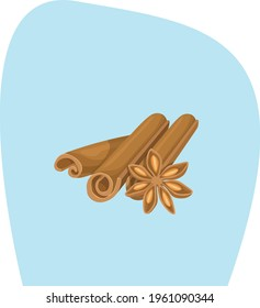 cinnamon pods in cartoon style on background