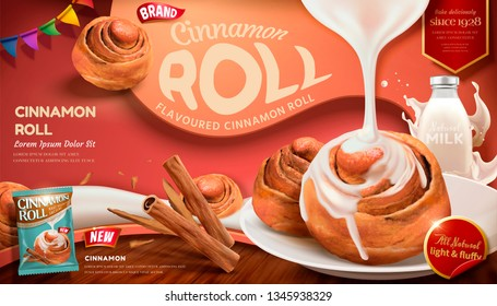 Cinnamon roll ads with condensed milk and rou gui herbs on red background in 3d illustration