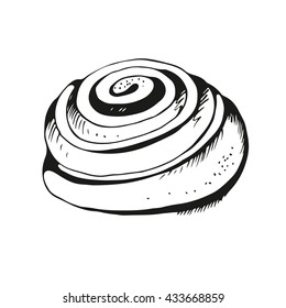 Cinnamon roll hand drawn illustration, vector pastry illustration, isolated on white background