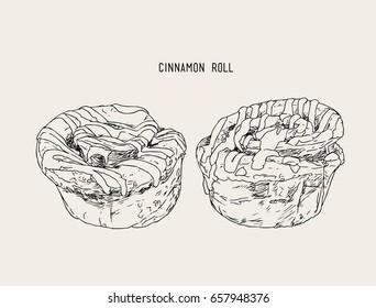cinnamon rolls set top with sugar , sketch vector.
