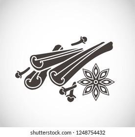 Cinnamon and spices vector icon