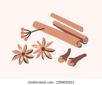 Cinnamon sticks, cloves and star anise isolated on light background. Aromatic spices or spicy food condiments used in culinary. Decorative design elements. Flat cartoon colorful vector illustration.