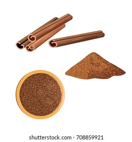 Cinnamon sticks and ground cinnamon isolated on white background. Vector illustration