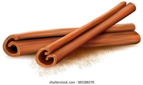 Cinnamon sticks on white background. Vector illustration