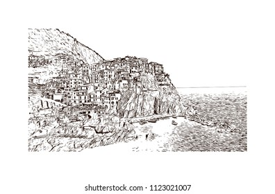 Cinque Terre is a string of centuries-old seaside villages on the rugged Italian Riviera coastline. Hand drawn sketch illustration in vector.