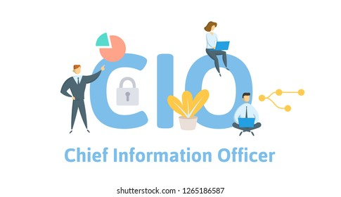 CIO, Chief Information Officer. Concept with keywords, letters, and icons. Colored flat vector illustration. Isolated on white background.