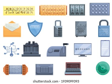 Cipher icons set. Cartoon set of cipher vector icons for web design