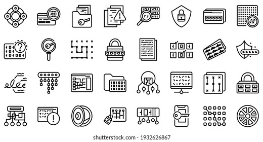 Cipher icons set. Outline set of cipher vector icons for web design isolated on white background
