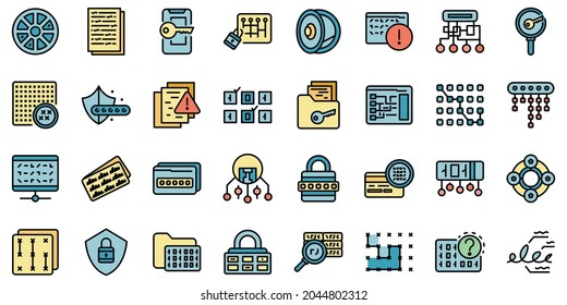 Cipher icons set. Outline set of cipher vector icons thin line color flat isolated on white