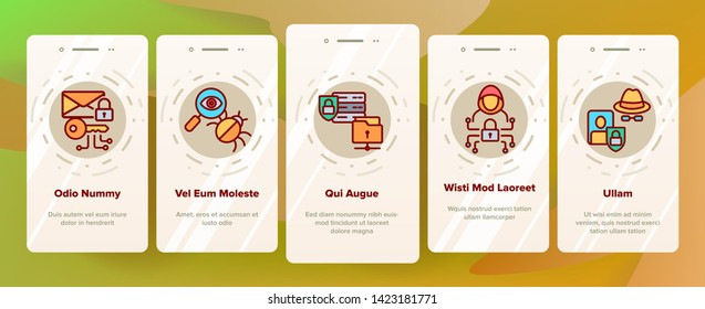 Cipher Onboarding Mobile App Page Screen Vector Icons Set. Information Encryption Thin Digital Security Pictograms Collection. Privacy, Anonymity, Confidentiality. Cybersecurity Outline Illustrations