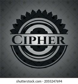 Cipher retro style black emblem. Vector Illustration. Detailed.
