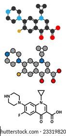 Ciprofloxacin antibiotic drug (fluoroquinolone class) molecule. Conventional skeletal formula and stylized representations.