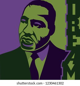 Circa November 15, 2018: A vector illustration of Dr. Martin Luther King, Jr., in a purple and green color scheme with the word Dream on the right of the artwork