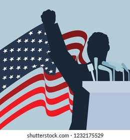 Circa November 17, 2018: A vector silhouette illustration of Dr. Martin Luther King, Jr., giving a speech with the United States of America National Flag on the background