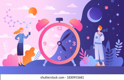Circadian rhythm concept with tiny characters