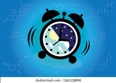 The circadian rhythms are controlled by circadian clocks or biological clock these clocks tell our brain when to sleep and control our activity in several day. Alarm clock on background